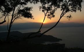 Обои вечер, озеро, деревья, закат