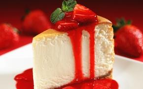 Обои ягоды, еда, клубника, торт, пирожное, cake, крем, десерт, food, сладкое, dessert, berries, чизкейк, strawberries, cheesecake