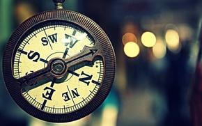 Картинка макро, часы, винтаж, Компас