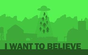 Картинка НЛО, минимализм, aliens, похищение, пришельцы, зеленый фон, i want to believe, the x files, секретные …
