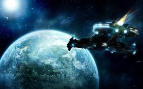 Картинка космос, земля, планета, звёзды, кометы, art, космический корабль, SC2, Unaware, markpaulk