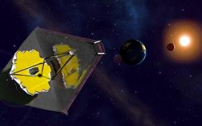 Картинка солнце, космос, звезды, земля, телескоп, Джеймс Уэбб