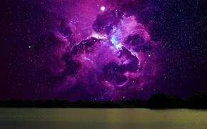 Картинка лес, вода, космос, звезды, ночь, туманность, река, одиночество, ночное небо, скопление звезд