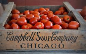 Картинка ящик, овощи, помидоры