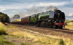 Картинка путь, дым, поезд, паровоз, вагоны, железная дорога
