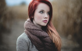 Картинка nature, eyes, beautiful, lips, redhead, scarf, outdoors, wool