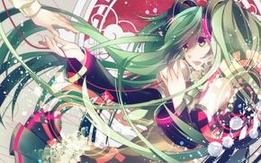 Обои девушка, аниме, vocaloid, hatsune miku, вокалоид, хатсуне мику