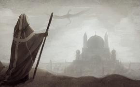 Картинка город, дракон, человек, арт, капюшон, маг, черно-белое, посох, плащ, купол, монохромное