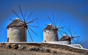 Картинка небо, рендеринг, Греция, ветряная мельница, Миконос