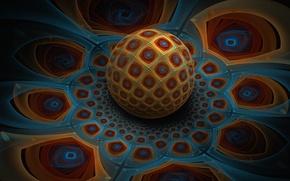 Картинка цветок, узор, шар, объем