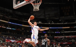 Обои nba, clippers, blake griffin, dunk, basketball