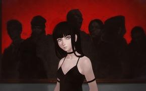 Картинка девушка, фон, рисунок, картина, аниме, брюнетка, арт, черное платье, Seven, anime, art, голые плечи, by …