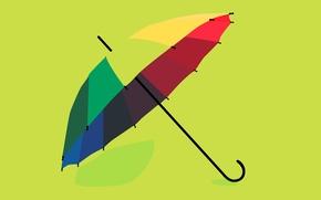 Обои рендеринг, цвет, радуга, зонт