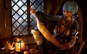 Картинка девушка, трубка, пират, фонарь, косички, курит, бандана, читает, каюта, 3d art