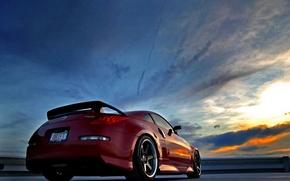 Обои Закат, Красный, Ниссан, Nissan