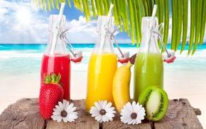 Обои banana, strawberry, киви, beach, коктейли, kiwi, море, cocktails, солнце, sky, облака, клубника, clouds, sun, fruits, ...