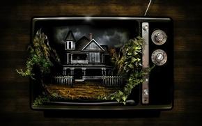 Обои странно, дом, Телевизор, растения