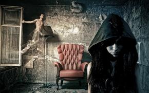 Картинка девушка, комната, ситуация