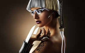 Картинка девушка, фентези, оружие, тату