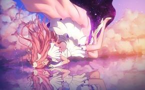 Обои goddess madoka, maredoro, отражение, девочка-волшебница мадока, арт, аниме, mahou shoujo madoka magica, kaname madoka, вода, ...