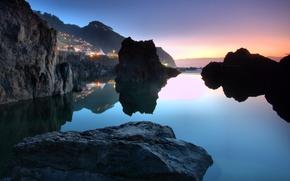 Обои Португалия, вода, городок, Porto Moniz, океан, небо, камни, закат
