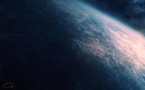 Картинка космос, земля, планета, атмосфера, арт, QAuZ
