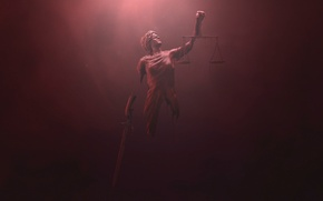 Картинка netflix, Daredevil justice, Red background, Themis