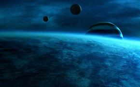 Картинка космос, планеты, голубой цвет