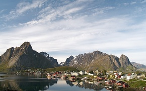 Картинка деревня, небо, вода, горы