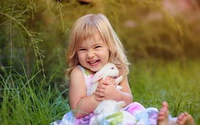 Картинка радость, настроение, кролик, девочка