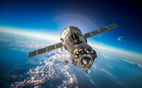 Картинка поля, корабль, арт, звездного, советский, Союз, атмосфера, вселенная, космическая, транспортный, российский, красотища, пилотируемый, космос, бесконечность, ...