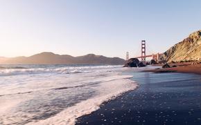 Картинка скалы, берег, Сан-Франциско, Golden Gate Bridge, San Francisco, пролив Золотые Ворота, Мост Золотые Ворота, San ...