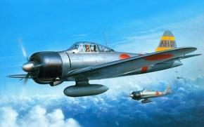 Картинка небо, облака, война, рисунок, арт, истребители, Mitsubishi, японские, WW2, палубные, Zero-Sen, A6M2