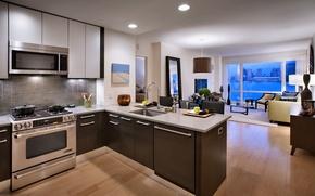 Обои город, стол, комната, обои, интерьер, окно, кухня, квартира, вид из окна, wallpapers