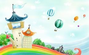 Картинка воздушные шары, радуга, домики