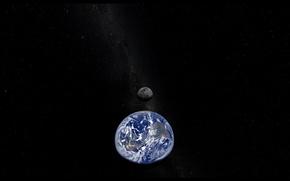 Картинка планета, космос, Луна, звезды, Земля