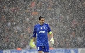 Картинка Снег, Спорт, мастер, Футбол, Goalkeeper, Вратарь, Juventus, Ювентус, Джанлуиджи Буффон, Gianluigi Buffon, Serie A, Серия …