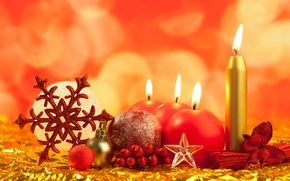 Картинка шарики, рождество, праздник, Свечи, Новый год