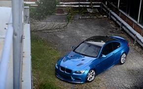 Картинка крыша, отражение, голубой, BMW, БМВ, чёрная, e92, углепластик, Atlantis Blue