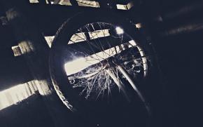 Картинка холод, паутина, колесо, сумерки