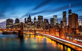 Картинка Manhattan, небоскребы, Бруклинский мост, NYC, дорога, тени, город, огни, вечер, ночь, Brooklyn, здания, река, подсветка, ...