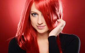 Картинка красный, фон, волосы, Девушка
