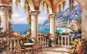 Картинка море, цветы, город, картина, колонны, живопись, терраса, painting, Sung Kim