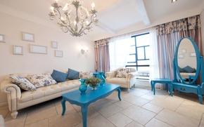 Картинка дизайн, стиль, комната, диван, голубой, интерьер, подушки, зеркало, кувшин, квартира