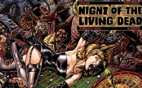 Night of the living dead, casino, zombies, woman, comic обои