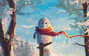 Картинка зима, снег, сова, птица, арт