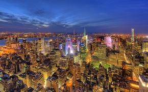 Обои ночь, огни, дома, Нью-Йорк, панорама, США