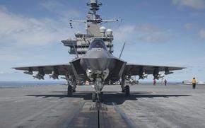 Обои палуба, бомбардировщик, истребитель, Lightning II, F-35