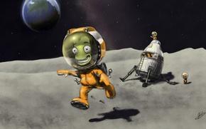 Картинка space, moon, art, Kerbal Space Program