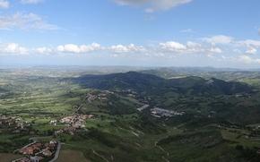 Картинка небо, горы, природа, замок, вид сверху, италия, сан-марино